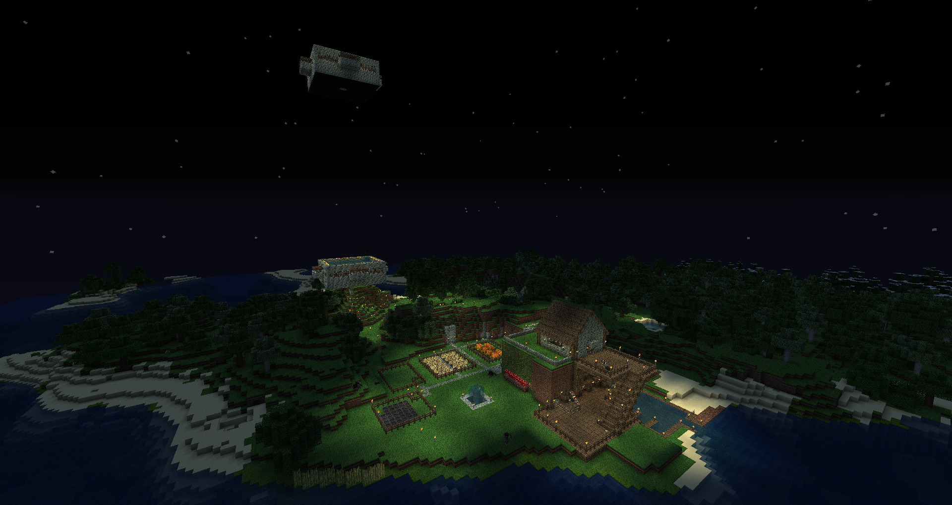The Secret Hideaway with the Iron Golem Farm In the Background